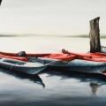 canoe_olio su tela_40x80